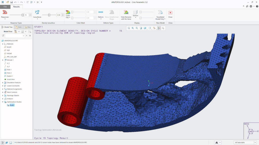 Creo 5 introduces a topology optimisation solver that gives you a wide range of boundary constraints and performance requirements to apply to a starting form, resulting in the familiar mesh