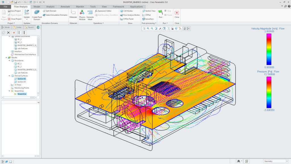 Creo's new CFD module allows you to conduct fluid flow and heat transfer type simulations