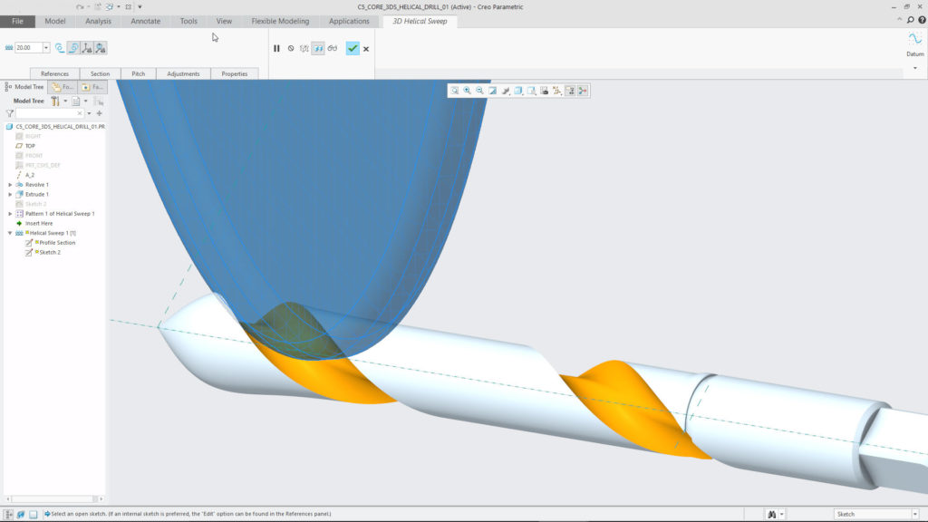 The Volume Helical Sweep tool in a grinding wheel scenario.Check out the new Volume Helical Sweep tool to create accurate 3D geometric representations for parts that are machined with cutting tools.