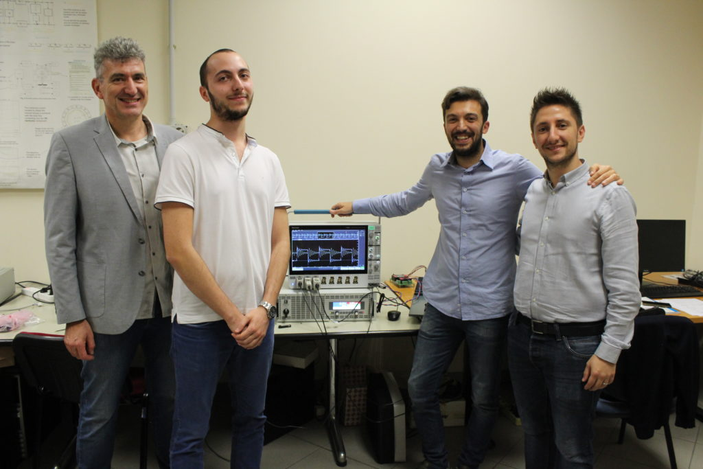 "Research team of UniMore, MeltingLab of University of Modena and Reggio Emilia, ""Electrical Converters, Machines and Drives"", (from the left): Professor Giovanni Franceschini, Mr Marco Pastura, Professor Barater, Dr Stefano Nuzzo"