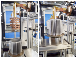 After starting, the component is lifted and encloses the inductor when it reaches its processing position.