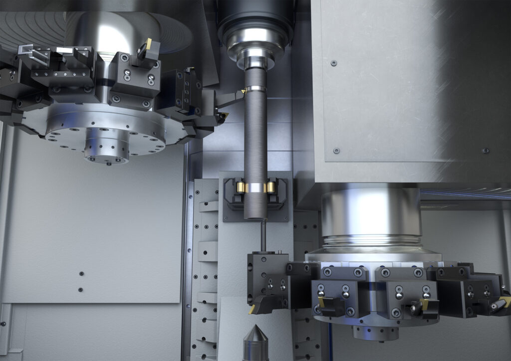 OP 10 / 20 – Green turning on two VTC 200. 4-axis machining of the shaft will reduce machining times significantly
