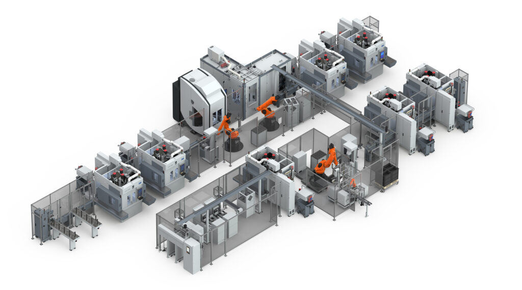 With twelve main and various secondary operations to the completely machined rotor shaft. The automation and interlinking of the individual machines and stations is carried out with robots, gantry systems and EMAG's own TrackMotion system